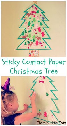 Sticky contact paper Christmas Tree fun DIY Christmas tree craft for kids. Have fun playing with this over and over again.