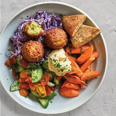 Chickpea Fritters with Roasted Carrots, Cabbage Salad and Pita Chips