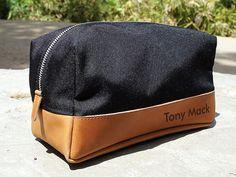 Black Canvas & Tan Leather Dopp Kit  Customizable  by urbanwrist, $65.00