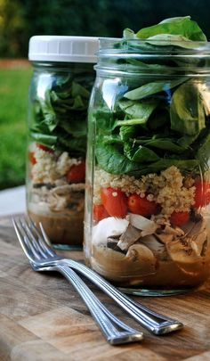 Salad in a Jar.  Your salad stays fresher in the fridge longer or it's also perfect for the beach!