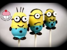 VIDEO: Despicable Me 2 Cake pops! - Make Minions Cakepops - A Cupcake Addiction How To Tutorial Cakes To Make, Cake Pops How To Make, Minion Cake Pops, Minion Cupcakes, No Bake Cake Pops, Cake Push Pops, Kid Cupcakes, Cupcake Cakes, Cakepops