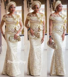 Drop Dead Gorgeous Aso Ebi styles For Wedding Turn Ups - Wedding Digest Naija African Wear, African Attire, African Fashion Dresses, African Women, African Beauty, African Clothes, Lace Material Styles, Aso Ebi Styles, Ankara Styles