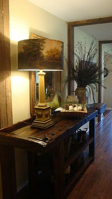 Repurposed old work bench turned into a beauty of a hall table.