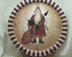Check out Father Christmas Recycled Metal Tray Clock, Unusual Item for Christmas Decoration, Recycled Metal Tray,Santa Claus Theme Clock,Xmas, #CC6056 on ckdesignsforyou