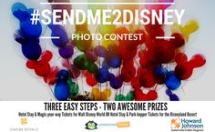 We're excited to announce the return of our popular Disney Photo Contest, #SendMe2Disney! Special thanks to our AMAZING sponsors: Caribe Royale All-Suite Hotel & Convention Center, Howard Johnson Anaheim Hotel and Water Playground, and Undercover Tourist!