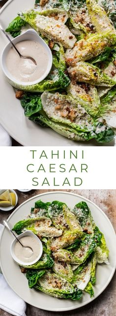 Vegetarian Tahini Caesar Salad with Olive Oil Breadcrumbs - A caesar salad recipe that combines a creamy lemon-tahini dressing with healthy greens and crunchy homemade breadcrumbs. recipes Tahini Caesar Salad with Olive Oil Breadcrumbs Vegetarian Salad Recipes, Vegetarian Recipes, Cooking Recipes, Healthy Recipes, Green Salad Recipes, Paleo Food, Meat Recipes, Clean Eating Snacks, Healthy Eating