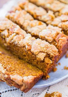 Soft Vegan Pumpkin Bread with Brown Sugar Streusel Crust - You won't miss the eggs or the butter in this fast & easy bread. Vegan.