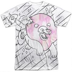 The youth sizes version is fine too This t-shirt features Steven and his magical pink friend,