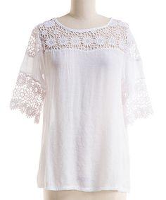Look at this #zulilyfind! White Lace-Detail Scoop Neck Top - Plus #zulilyfinds
