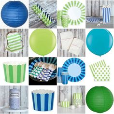 navy and green pooly party supplies