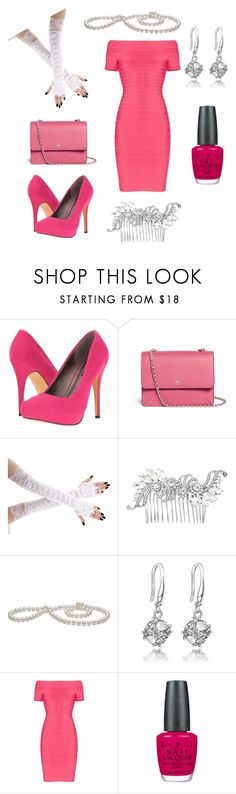 """""""Pretty in Pink"""" by nivir ❤ liked on Polyvore featuring Michael Antonio, Tory Burch, Hervé Léger and OPI"""