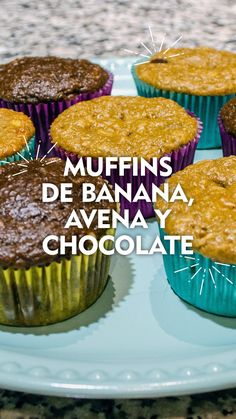 Muffin Tin Recipes, Chocolate Cupcakes, Healthy Desserts, Dessert Table, Sprinkles, Vegetarian Recipes, Oatmeal, Food Porn, Banana