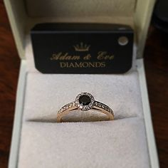 18k Pink Gold Engagement Ring with a Central Black Diamond 0.25ct and side Diamonds of 0.23ct - Adam & Eve Diamonds - 2.461 $ Adam And Eve, Gold Engagement Rings, Black Diamond, Pink And Gold, Class Ring, Jewelry, Diamond, Adam An Eve, Jewellery Making
