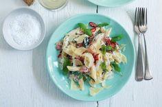 Ostré těstoviny se slaninou a ricottou | Apetitonline.cz Ricotta, Pasta Salad, Potato Salad, Potatoes, Cooking, Ethnic Recipes, Food, Diet, Meal