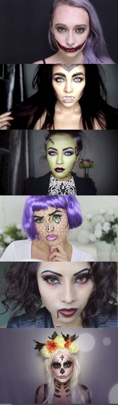 We've rounded up all the best halloween makeup tutorials on Youtube: http://www.cosmopolitan.co.uk/beauty-hair/makeup/news/a30265/cool-halloween-makeup-tutorials/