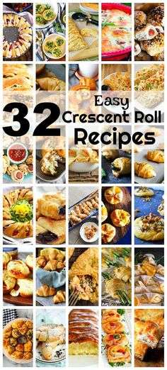 Crescent rolls, found in the refrigerator section of the grocery store, are ideal for quick meals and party planning and these 32 easy crescent roll recipes offer inspiration for what to make with them. Healthy Recipes, Easy Recipes, Cooking Recipes, Chef Recipes, Cooking Ideas, Recipies, Bread Recipes, Chicken Recipes, Healthy Food