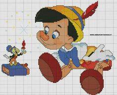pinocchio schema a crocette Disney Cross Stitch Patterns, Cross Stitch For Kids, Cross Stitch Boards, Cross Stitch Heart, Counted Cross Stitch Patterns, Cross Stitch Designs, Cross Stitch Embroidery, Embroidery Patterns, Walt Disney