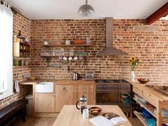 Fabulous Brick Wall Kitchen Style as Your New Kitchen Models: Wonderful But Looks Natural Brick Wall Kitchen Ideas Makes Awesome Kitchen Design With Brick Wall Kitchen Ideas Kitchen Interior, Wooden Kitchen, Brick Kitchen, Rustic Farmhouse Kitchen, Brick Wall Kitchen, Contemporary Kitchen, Kitchens Without Upper Cabinets, Wall Oven Kitchen, Timeless Kitchen
