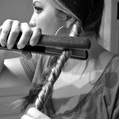 How to do beachy waves in less than 5 minutes: 1. Divide your hair into two parts. 2. Twist each section and tie with a hair tie.  3. Run your straighter/flat iron over both of the twist a few times. 4. Untie twists, and you're done.