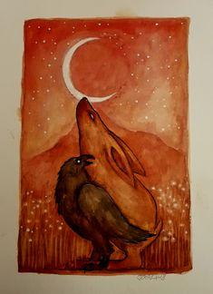 Moongazers #watercolour #hare #raven