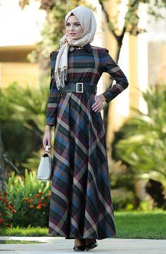 Butik Simge Sivri Yaka Kloş Elbise -Lacivert E3802-17