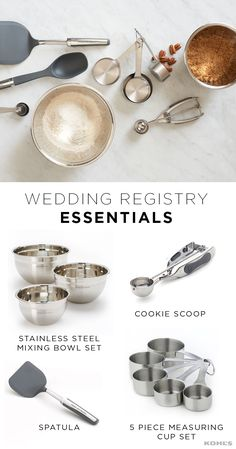 Engaged couples get no shortage of marital advice from well-meaning friends, family and wedding guests. Now we've got some for you too: baking cookies together is always a good idea. Here are the mixing bowls, measuring cups, spatulas and cookie scoops you'll need to go from weekday blah to wedded bliss. Browse The Registry at Kohl's for everything you need to start a lovely life together.
