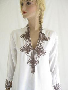 Vintage 70s Boho  Embroidered Soutache Tunic by TimeBombVintage