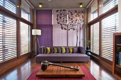Elegznt Hiren Patel Architects Simple Living Room Decor Pushing Purple Velvet Chaise Lounge Sofa With Track Arms Style And Low Backrest Includes Assorted Color Fabric Pillows Plus Low Rectangle Brown Varnishes Stripes Pattern Solid Oak Wood Table Above Square Red Rug Also Drum Shade White Floor Lamp As Well As Home Decorating Ideas And Living Room Sofa of Compelling Fashionable Simple Living Room Decor from Interior Ideas