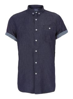 INDIGO DENIM BUTTON DOWN SHORT SLEEVE SHIRT