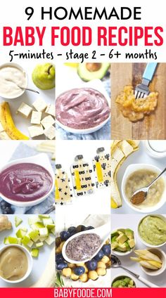 If making your own homemade baby food seems intimidating, you want to check out these NINE baby food purees that you can make in just FIVE minutes. Each homemade baby food recipe is healthy, fast, and delicious! Start making your own homemade baby food purees today! Stage 2 baby food for babies 6 months and up. #babyfood #quickbabyfood #babyfoodrecipes #homemadebabyfood Baby Puree Recipes, Baby Food Recipes, Homemade Baby Foods, Fruit, Healthy, Recipes For Baby Food, Homemade Baby Formula, Health