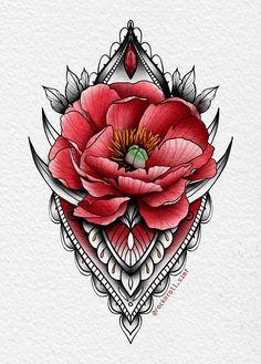 Tatuaje Mandala Floral, Floral Mandala Tattoo, Mini Tattoos, Rose Tattoos, New Tattoos, Flower Tattoo Drawings, Tattoo Sketches, Mago Tattoo, Rose Reference