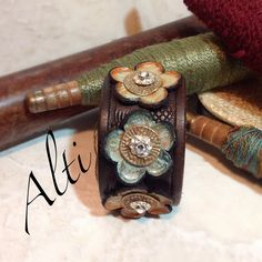 Vintage tooled leather bracelet with leather bronze and by Alti, $65.00
