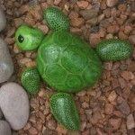 Paint Rocks to Look like Turtles & Fish