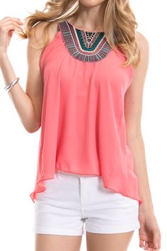 Embroidered Yoke Neck Solid Sleeveless Top