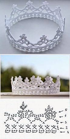 crochet crown - every princess needs at least one - www., crochet crown - every princess needs at least one - www. Crochet Diy, Love Crochet, Crochet For Kids, Crochet Flowers, Crochet Hooks, Crochet Lace Edging, Crochet Pillow, Crochet Poncho, Irish Crochet