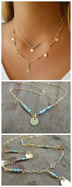 A delicate gold and turquoise necklace set