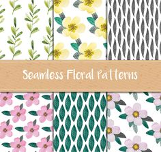 A set of 6 seamless patterns with floral and botanical motifs. From original watercolor illsutrations.