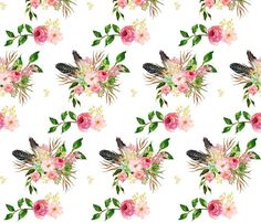 Fox Floral Feathers Pink Quilting Fabric. Fabric by JacksonsWovens