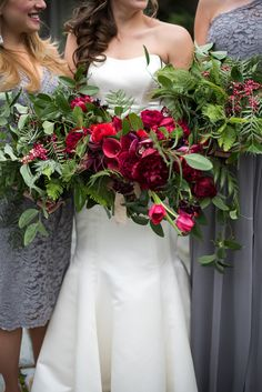 fuchsia bouquets with greenery - photo by Sweet Root Village http://ruffledblog.com/winter-art-gallery-wedding