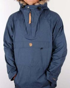 Fjallraven-Gutulia-Anorak-in-Uncle-Blue-overhead-coat-in-waxed-cotton-SALE
