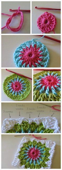 Transcendent Crochet a Solid Granny Square Ideas. Inconceivable Crochet a Solid Granny Square Ideas. Crochet Diy, Crochet Mandala, Love Crochet, Crochet Motif, Crochet Crafts, Yarn Crafts, Crochet Flowers, Crochet Stitches, Crochet Projects