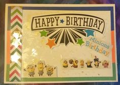 Birthday card, Minions, background embossed with stars, multi colored ribbon.