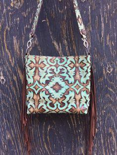 Western Distressed Turquoise Laredo Leather Handbag Tote Purse w/ Fringe HMVR | eBay