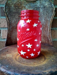 Patriotic Star Jar! by ToastyBarkerBoutique on Etsy