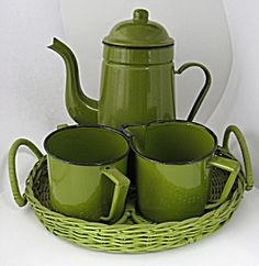 Retro Coffee Set Avocado Enamel Ware Wicker Tray 4 Pc. Click on the image for more  information.