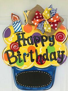 Fabulous Birthday Door Hanger on Etsy! Fabulous Birthday Door Hanger on Etsy! Birthday Door, Happy Birthday Signs, Wooden Door Signs, Wooden Doors, Teacher Door Hangers, Burlap Door Hangers, Birthday Chalkboard, Wood Cutouts, Wooden Crafts