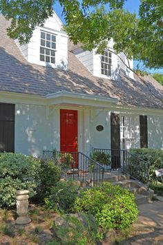 i really like red doors with black shutters!  Front Door Awning Design Ideas, Pictures, Remodel and Decor