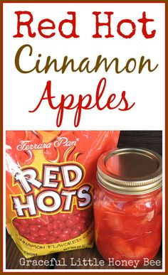 Learn how to make these delicious retro Red Hot Cinnamon Apples and impress all your friends! Jelly Recipes, Jam Recipes, Canning Recipes, Fruit Recipes, Apple Recipes, Canning 101, Pressure Canning, Apple Desserts, Fruit Snacks