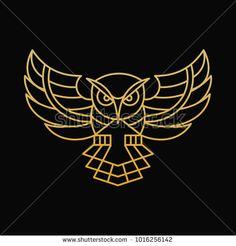 Owl Line Art Illustration Stock Vector (Royalty Free) 1016256142 - - Geometric Quilt, Geometric Art, Tattoo Samples, Owl Vector, Owl Logo, Element Symbols, Spine Tattoos, Graffiti Drawing, Tattoo Graphic