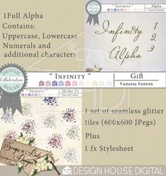 Designed to co-ordinate with the Infinity collab that I have done with Tayler Mitchell, this is my Free Gift to you allOne set of beautiful glitter tiles in JPeg format (Seamless 600 x 600 files) with a Photoshop fx stylesheet as wellA full alpha Digital scrapbooking kit available at Design House Digital.   $0.00  by Vanessa Fenton